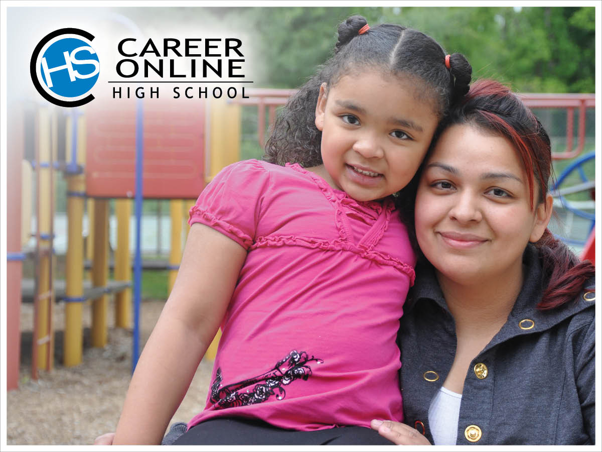 Career Online High School Student with Daughter